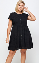 Curvy Swiss Dot Baby Doll Dress, Black