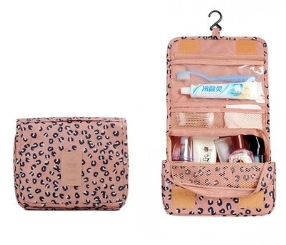 Waterproof Hanging Travel Case for Toiletries, Pink Leopard