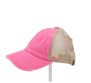 Criss Cross High Pony Ball Cap, Pink