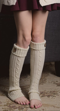 Cable Knit Button Boot Sock, Ivory