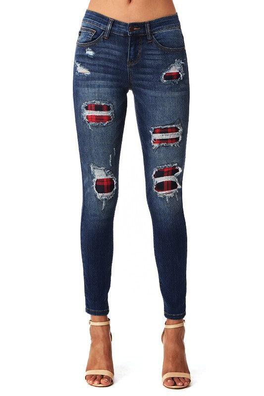 Plaid-Patch Peek-A-Boo's, Skinny Jeans