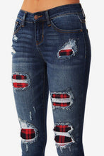 Judy Blue Plaid-Patch Peek-A-Boo's, Skinny Jeans