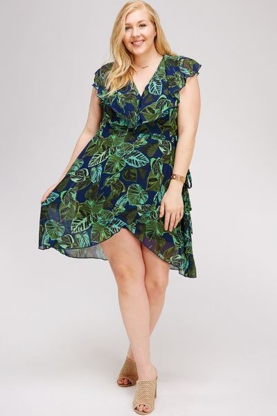 Tropical Treasure, Plus  Faux Wrap Dress