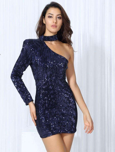 Sexy Dark Blue Sequin Party Dress - Trenberry