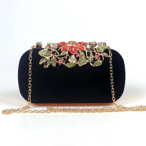 Flower Rhinestone Crystal  Clutch Bag - Trenberry