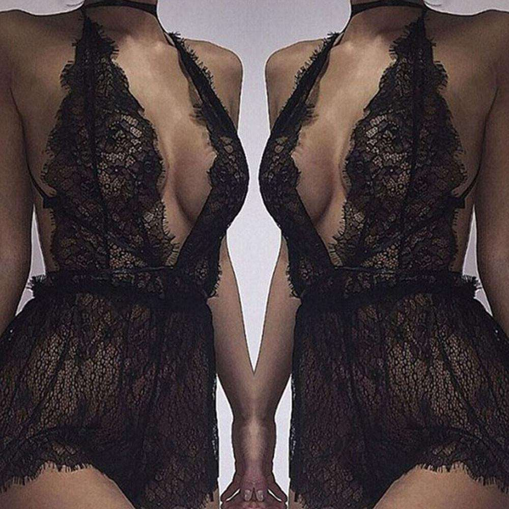 Women Lace Bralette Bra Top Lingerie Dress Sleepwear - Trenberry