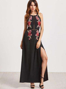 Black Embroidery Open Back Women's Maxi Dress - Trenberry