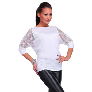 Fashion Women Casual Blouse 3/4 Lace Sleeve Solid Tops - Trenberry