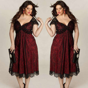 Plus Size Women Sleeveless Lace Long Evening Party Prom Gown Formal Dress - Trenberry