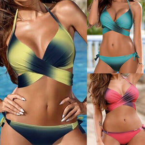 Women  Swimwear Bikini Set Bandage Push-Up Padded Swimsuit - Trenberry