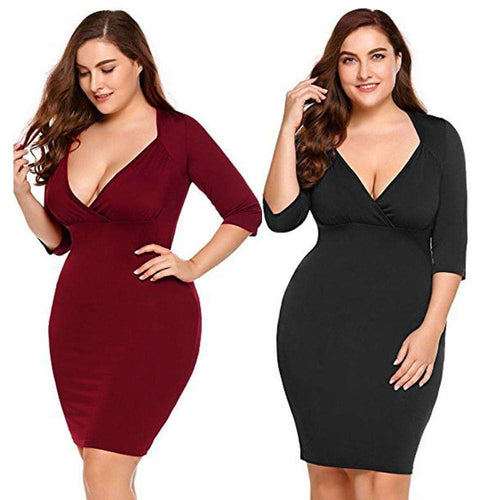 Women Sexy V-Neck Plus Evening Party Cocktail Midi Casual Short Dress - Trenberry
