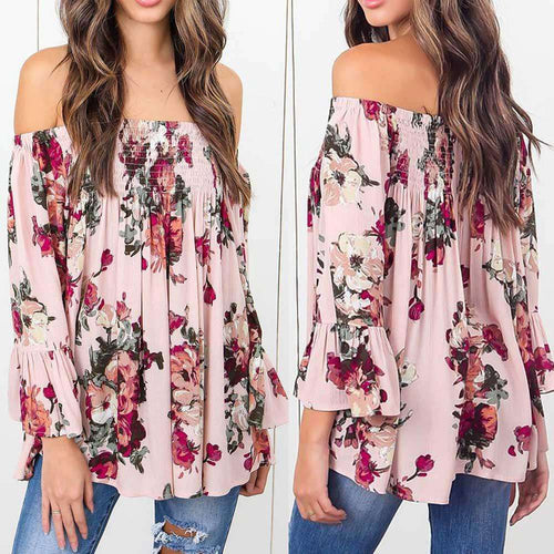 Women Floral Print Tops Off Shoulder Blouse - Trenberry