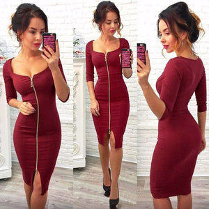 Women Sexy Club Low Cut Bodycon Dress Red Sheath - Trenberry