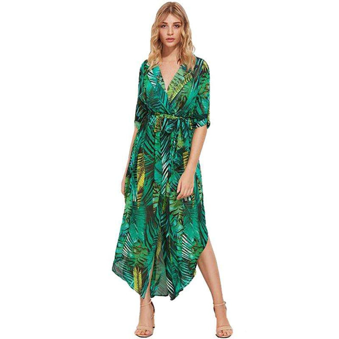 Chiffon Maxi Dress Floral Print - Trenberry
