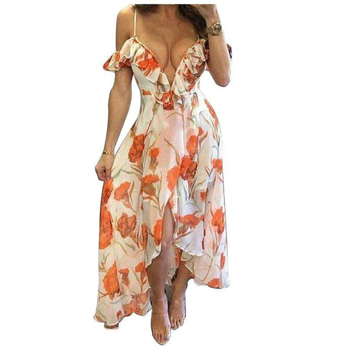 Women Fashion New Summer Flower Print Ruffles Maxi Dress - Trenberry