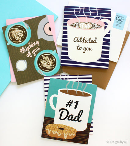 Designs by Val Coffee Themed Greeting Cards