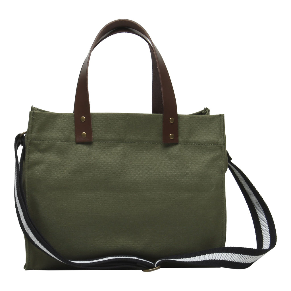 Brooklyn Tote Olive Green with Cotton Web Straps