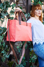 Brooklyn Tote Coral Pink with Leather Straps