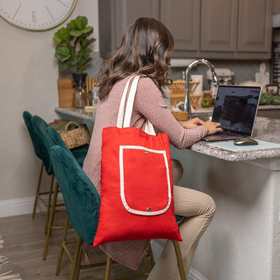 Folding Tote Bag Tote Tag&Crew Red with Natural Trim