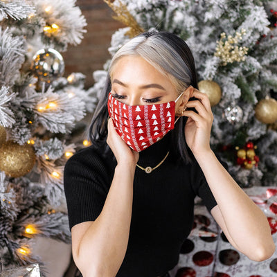 Christmas Linen Mask (2/pack) Tag&Crew Red Tree