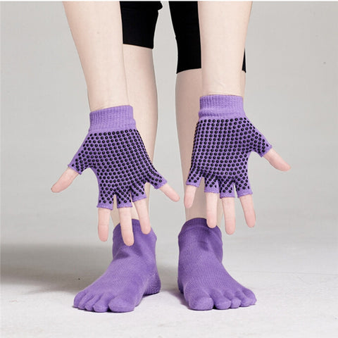 Yoga Socks and Gloves Set Non Slip Grip with Silicone Dots - Mind and Mantra