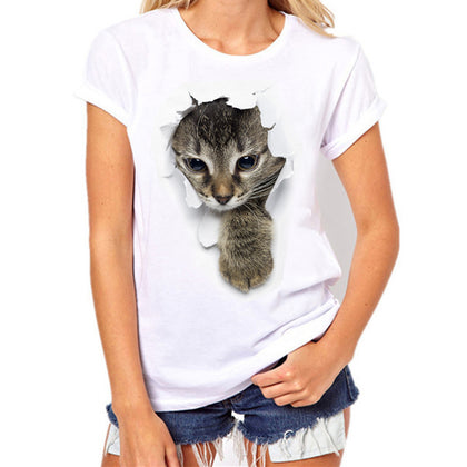 Women Plus Size Cat Printing Tees Shirt Short Sleeve T-Shirt Blouse Tops