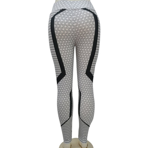 High Waist Black White Geometric Yoga Leggings - Mind and Mantra