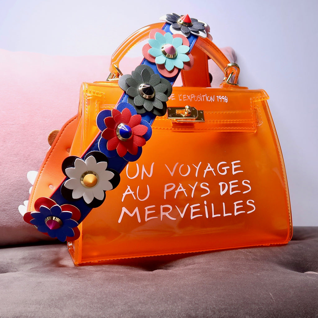 LIMITED 3D FLOWER KIKI ORANGE UN VOYAGE GRAFFITI BAG LARGE - Celeb Threads