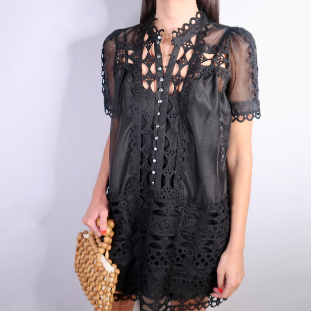 CHRISTY BLACK EMBROIDERED DRESS