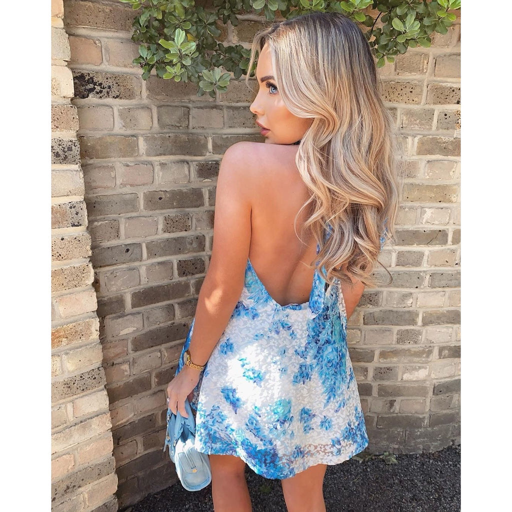 CHIARA BLUE SILKY HALTER NECK SHORTS CO ORD TWO PIECE SET