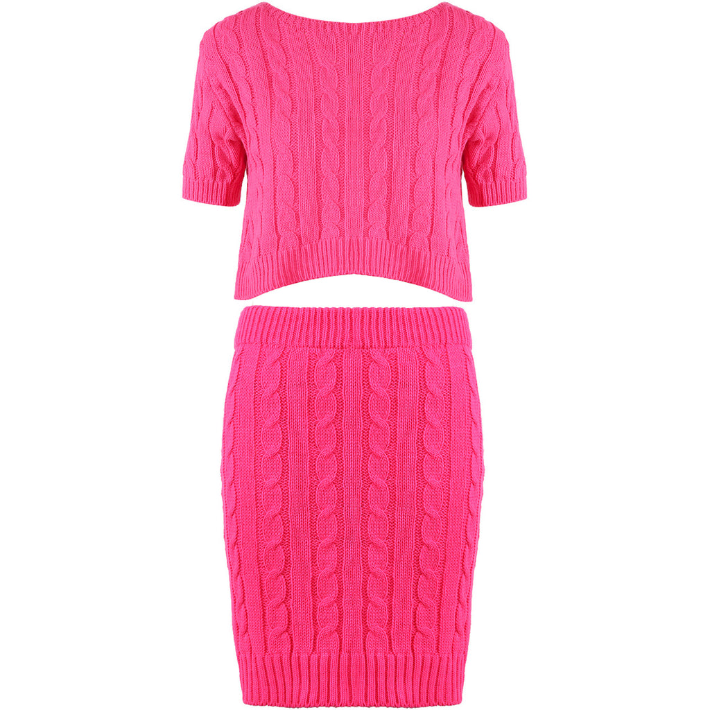 MADISON HOT PINK CABLE KNIT CO ORD - Celeb Threads