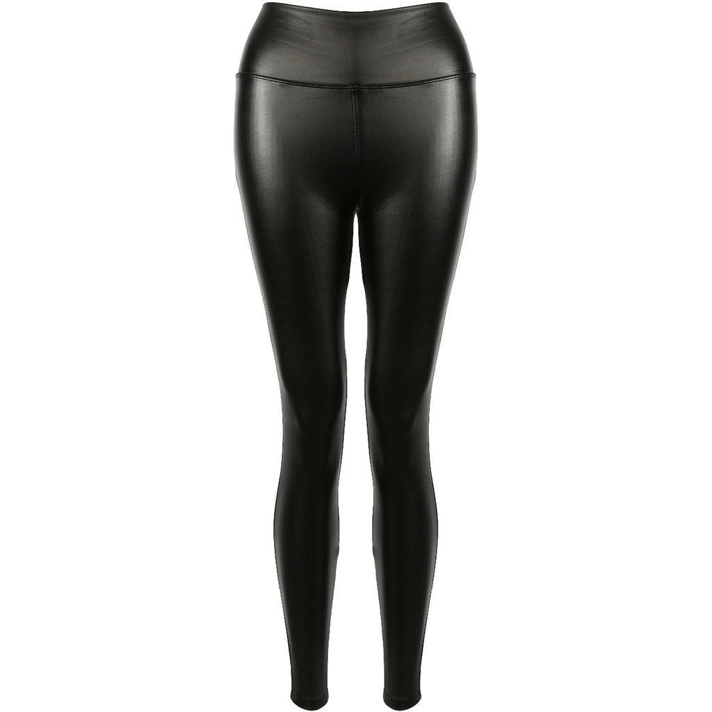ALYIA BLACK HIGH WAIST FAUX LEATHER LEGGINGS - Celeb Threads