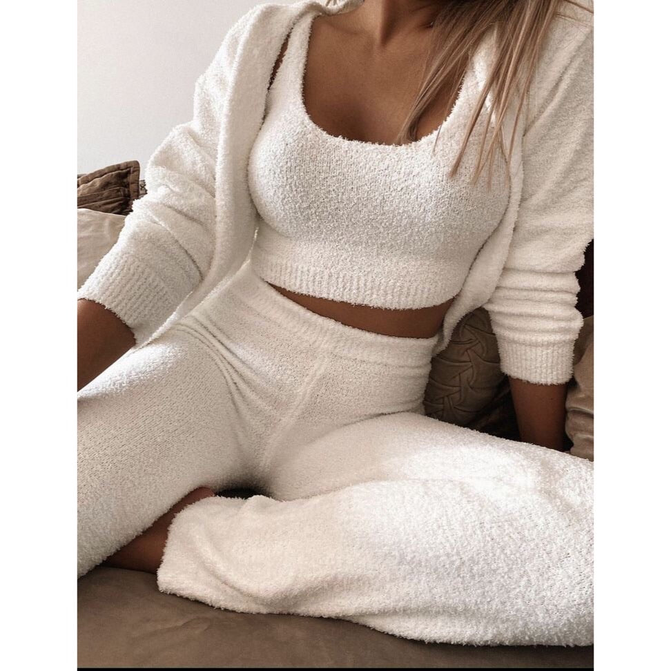 HARLEY WHITE COSY KNIT 3 PEICE LOUNGESET