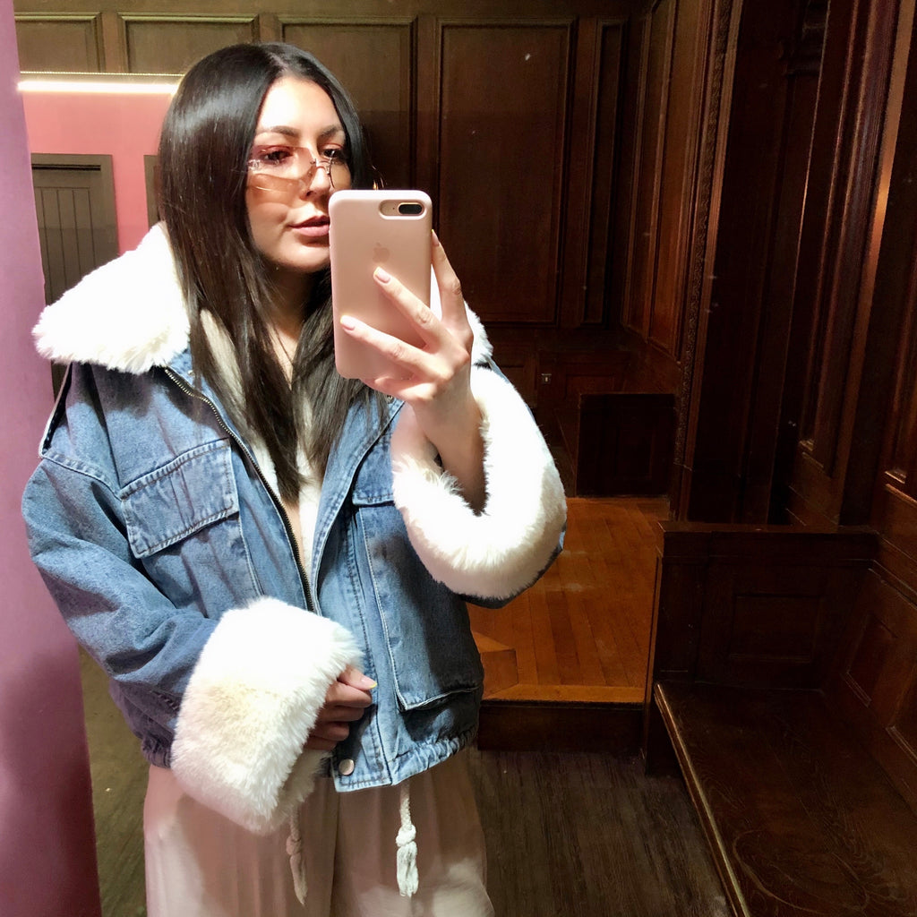 KYLIE WHITE FAUX FUR DENIM JACKET
