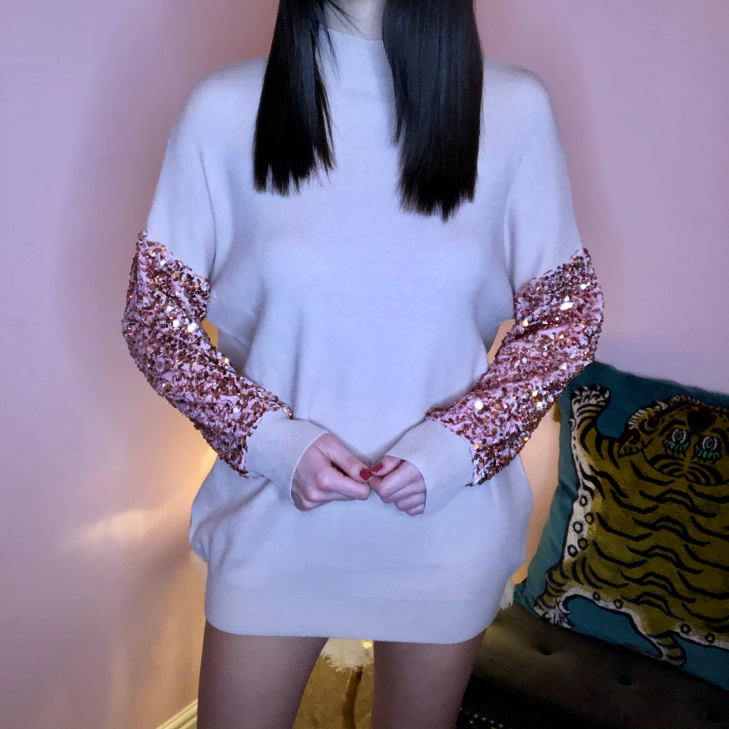 LYLA BLUSH SEQUIN SLEEVE JUMPER DRESS - Celeb Threads