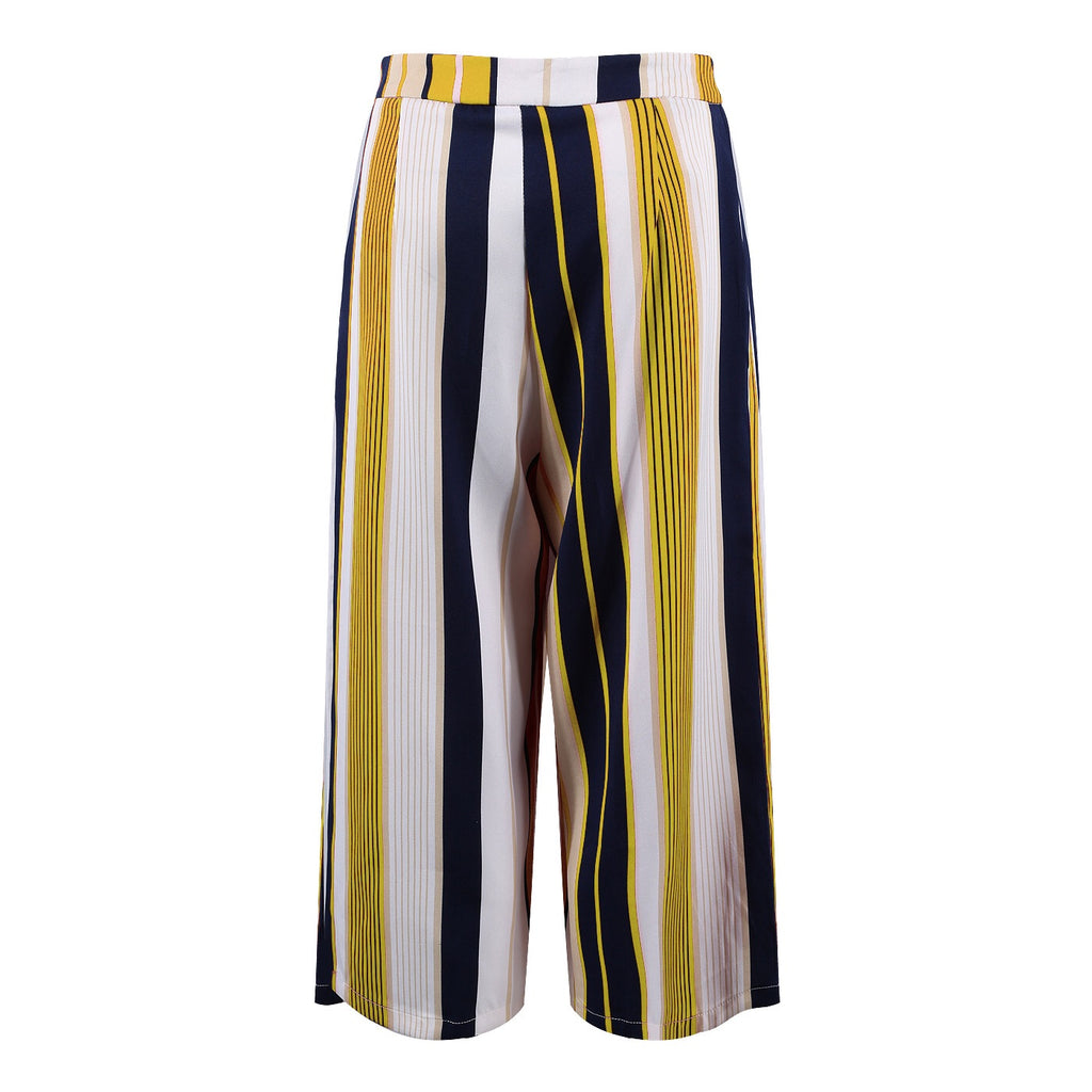 GEORGIA YELLOW STRIPE CULOTTE - Celeb Threads