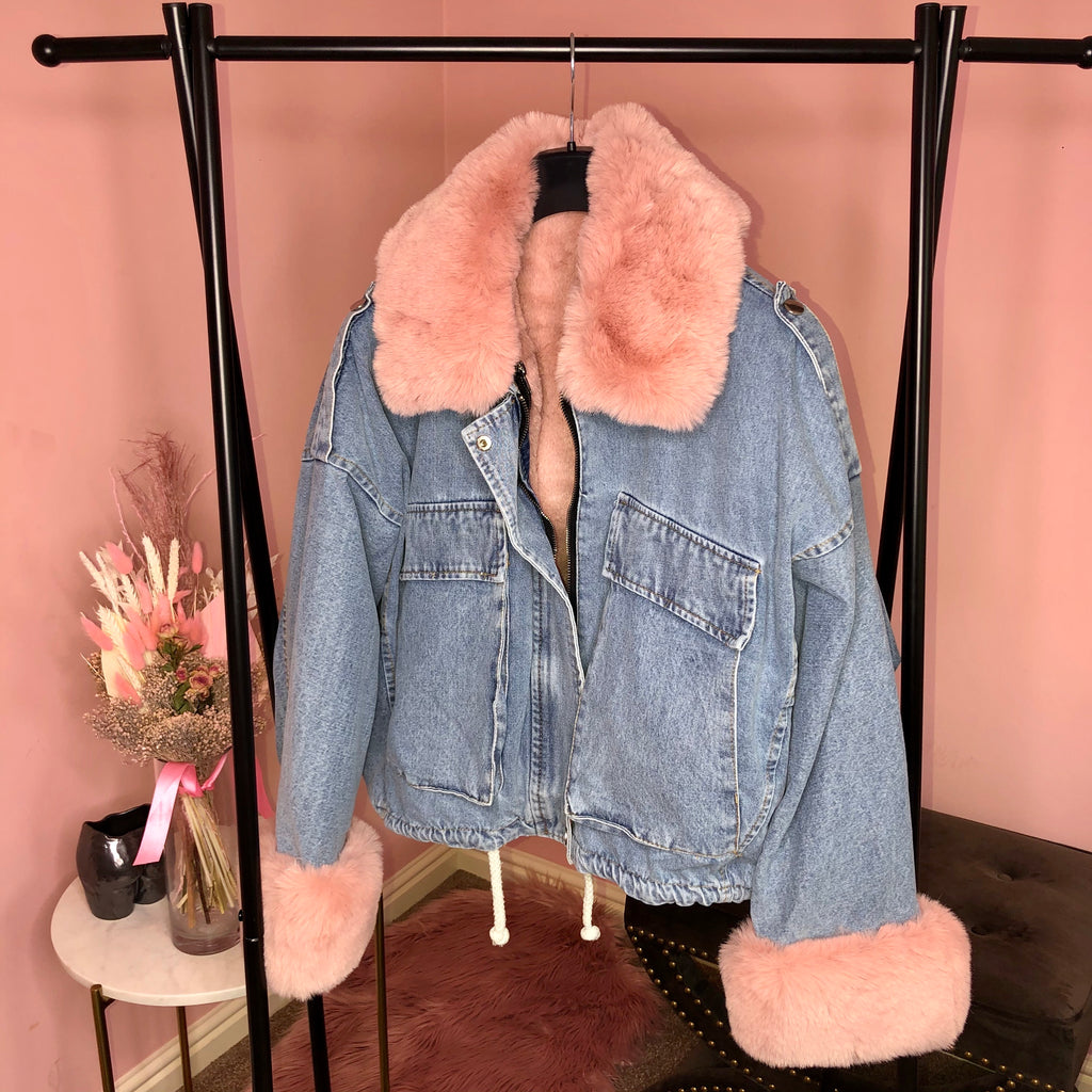 KYLIE PINK FAUX FUR DENIM JACKET