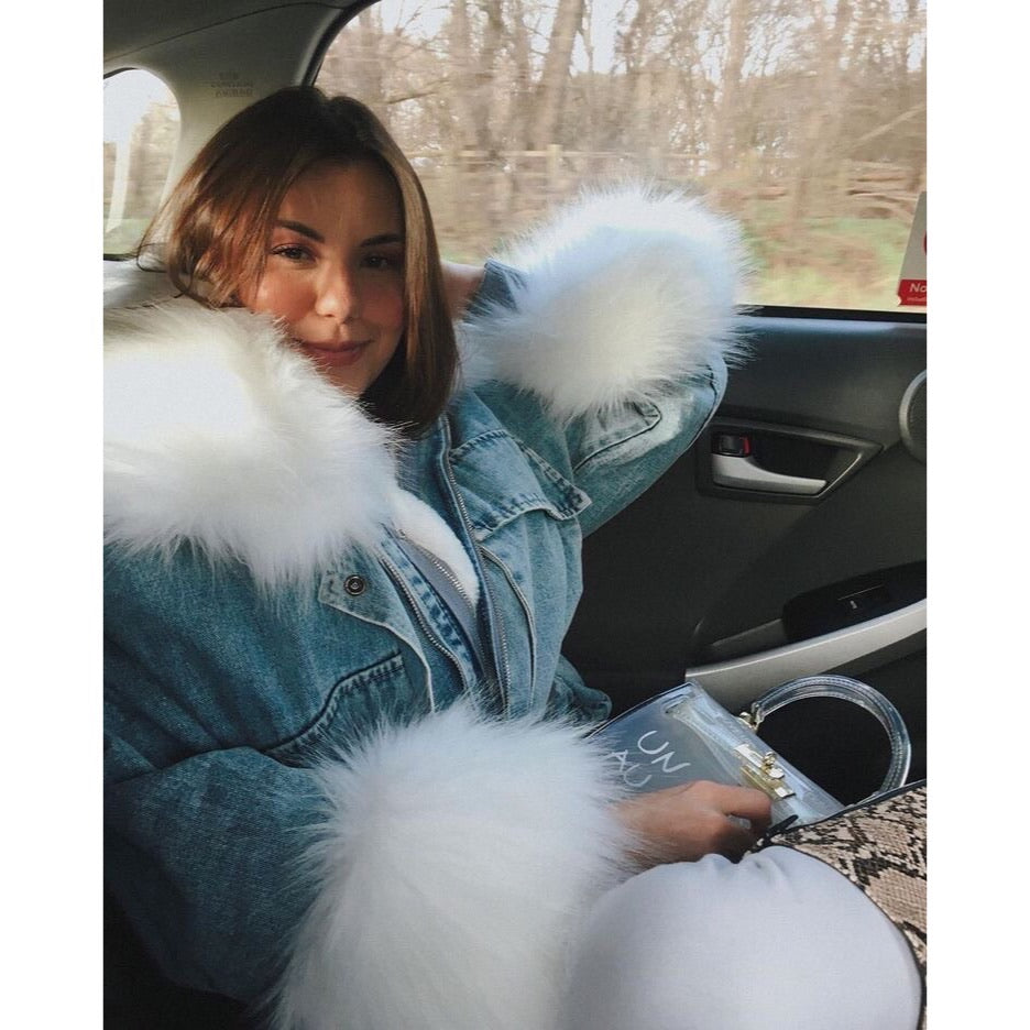 ALYSSA WHITE FAUX FUR DENIM JACKET - Celeb Threads