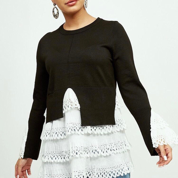 ELLE BLACK KNITTED FRILL SHIRT JUMPER - Celeb Threads