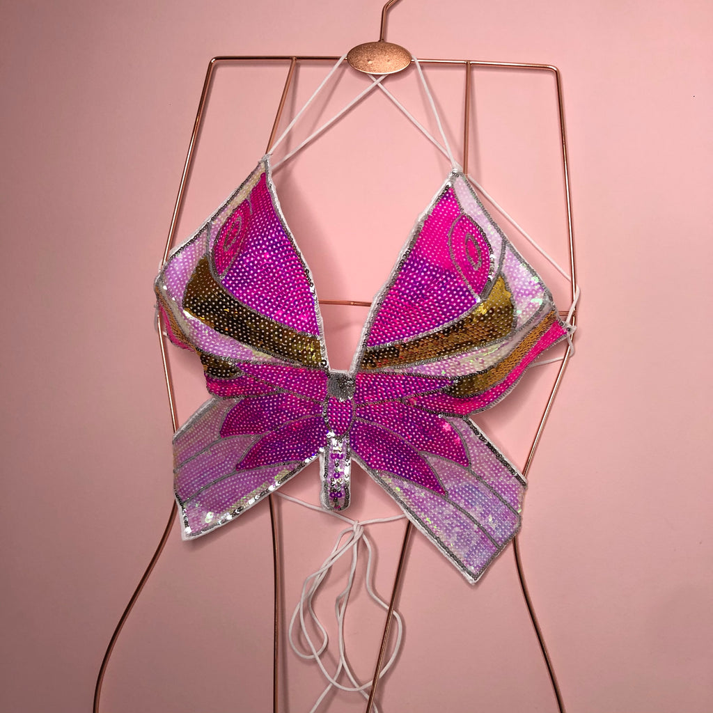 Sequin pink butterfly backless top