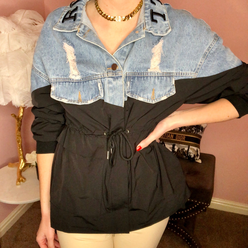 IZABELLA BLACK ROCK AND ROLL DRAWSTRING JACKET - Celeb Threads