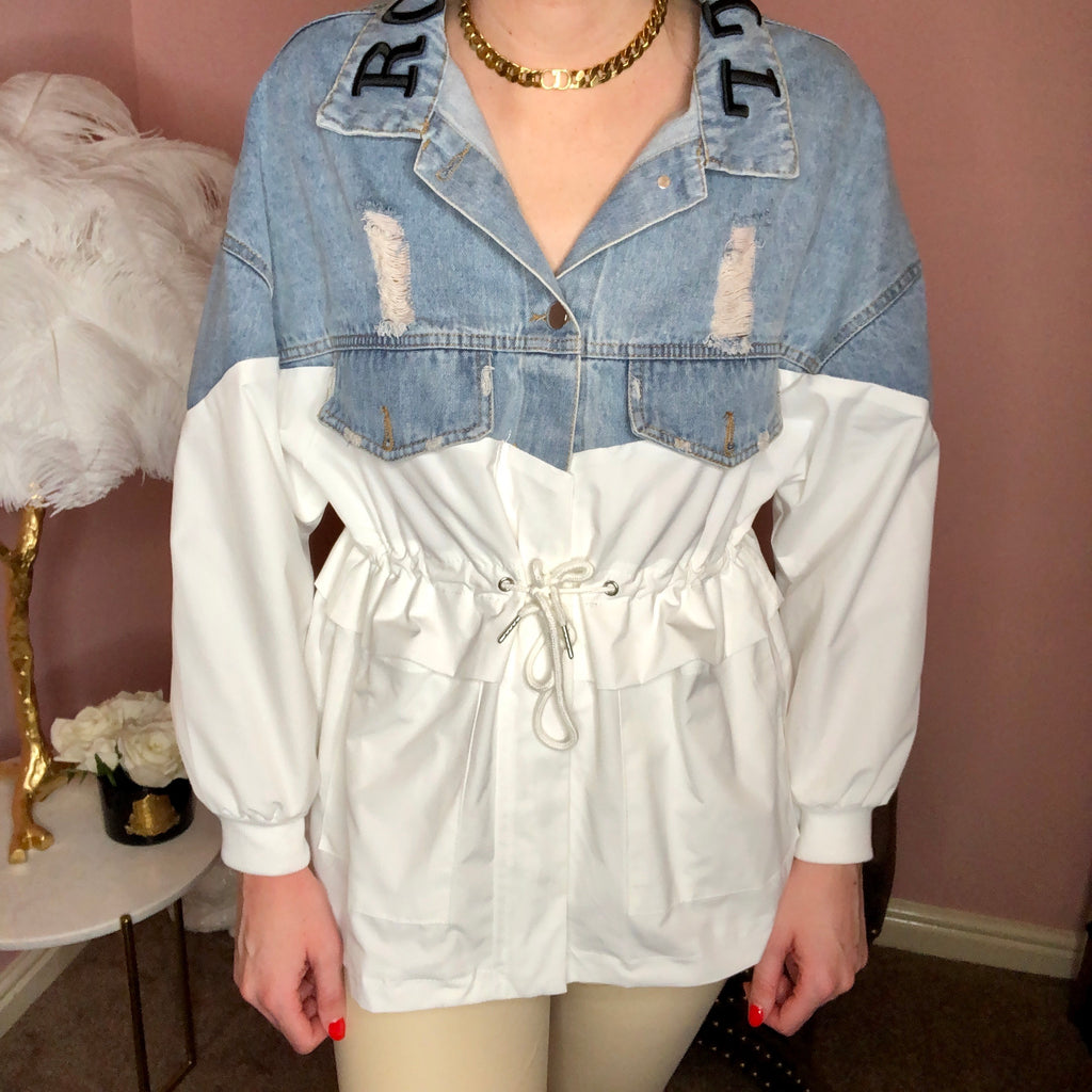 IZABELLA WHITE ROCK AND ROLL DRAWSTRING JACKET - Celeb Threads