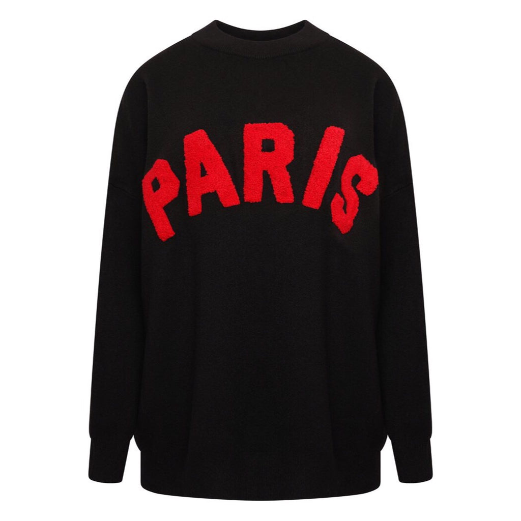 J'ADORE PARIS BLACK JUMPER - Celeb Threads
