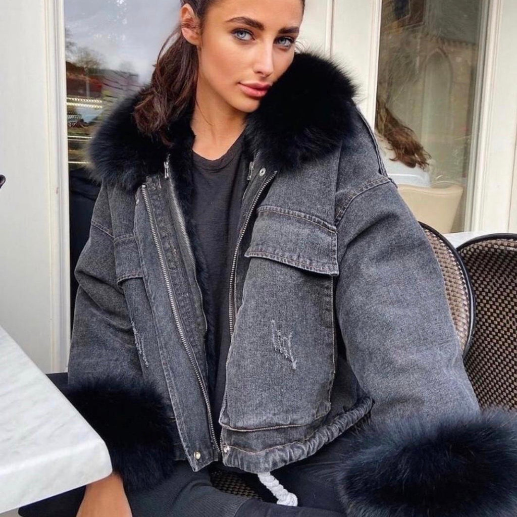 ALYSSA BLACK FAUX FUR DENIM JACKET - Celeb Threads