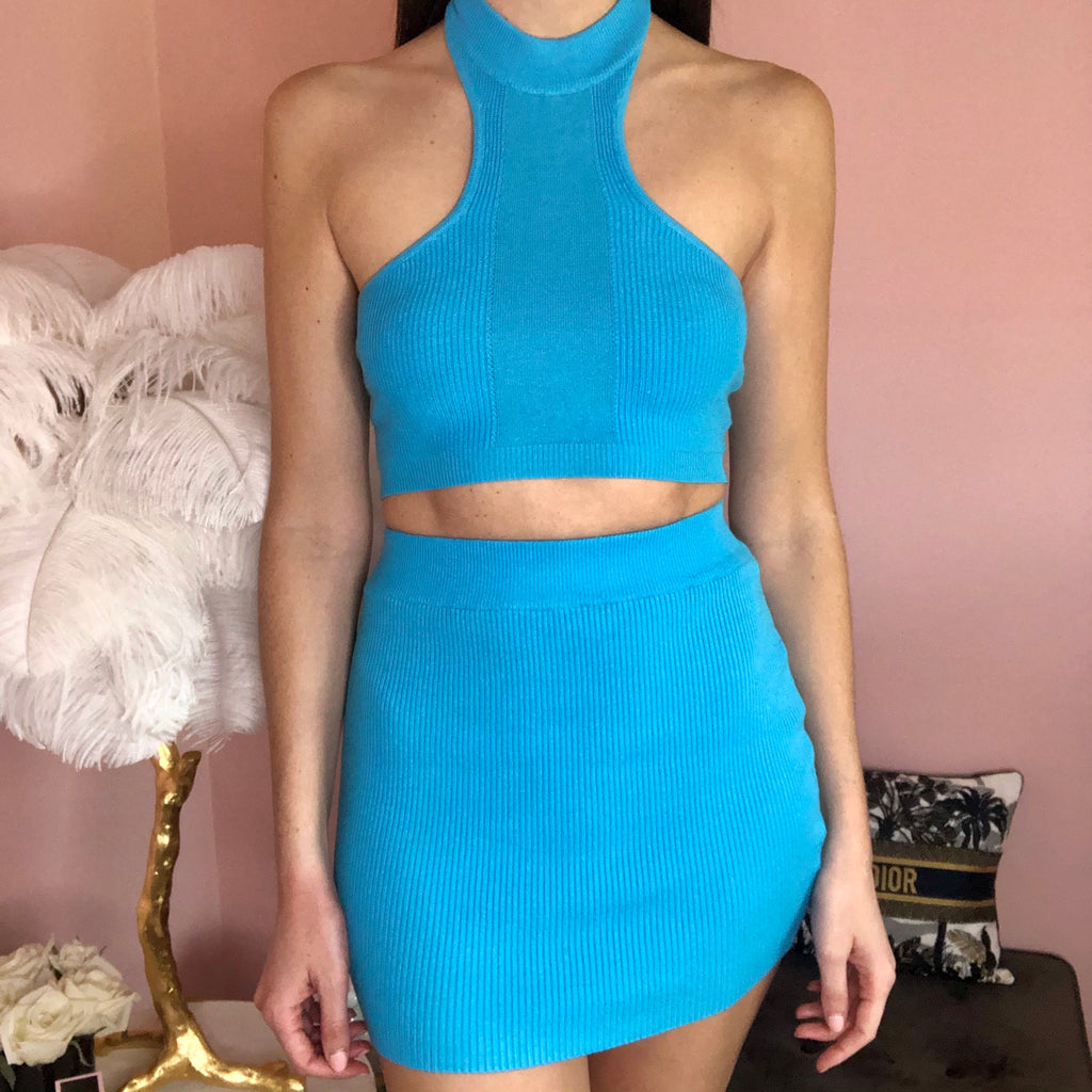 MILA BLUE RIBBED HALTER NECK TWO PIECE CO ORD