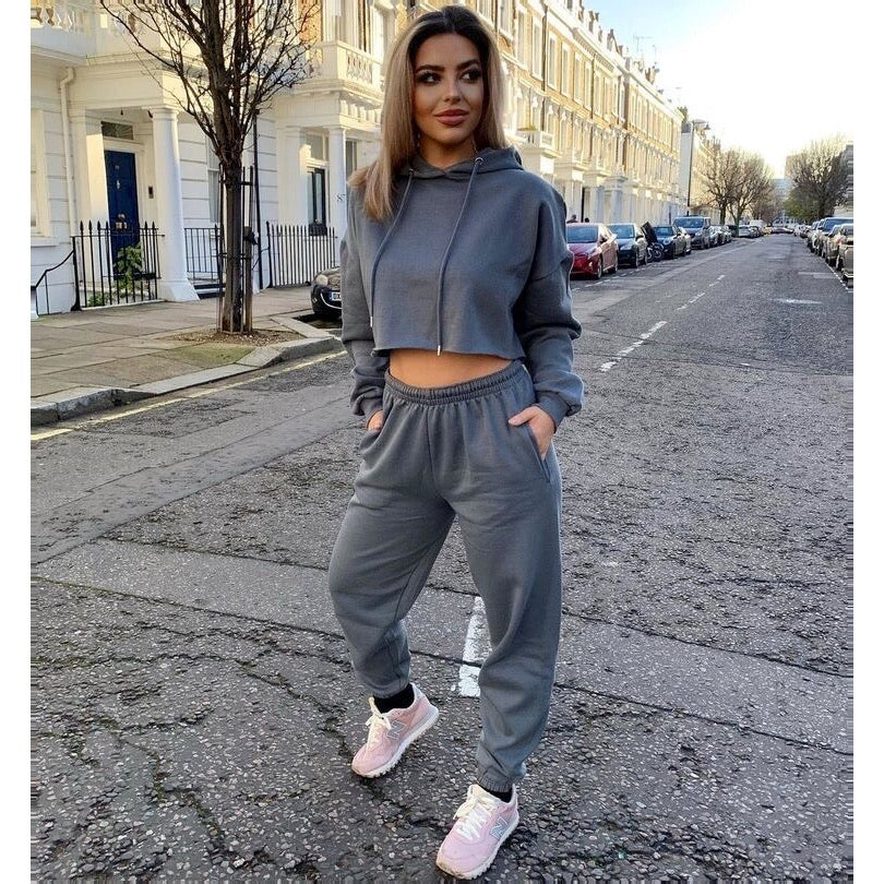 Lucie charcoal fleece lined oversized tracksuit