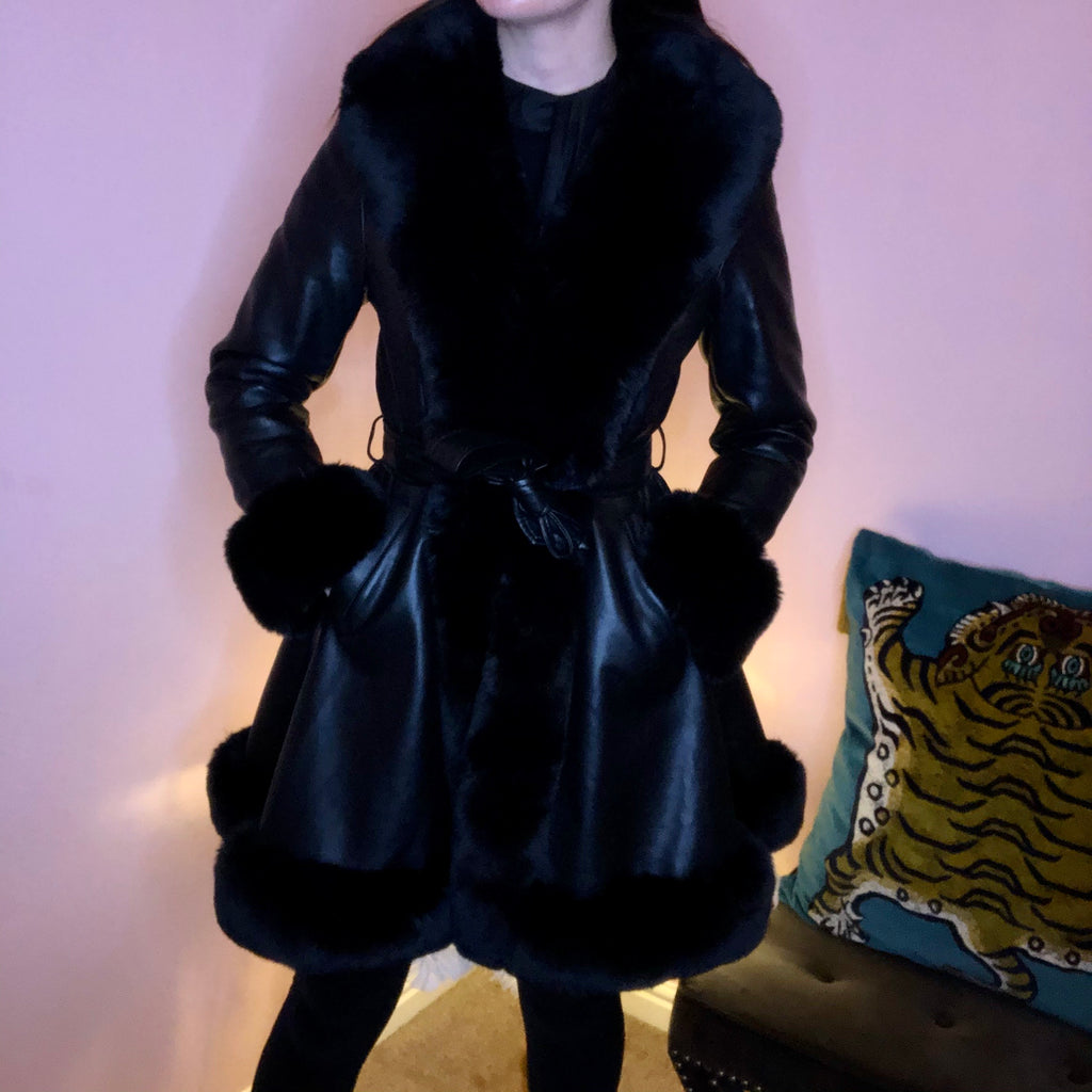 CHLOE BLACK FAUX FUR TRIM BELTED LONGLINE COAT - Celeb Threads