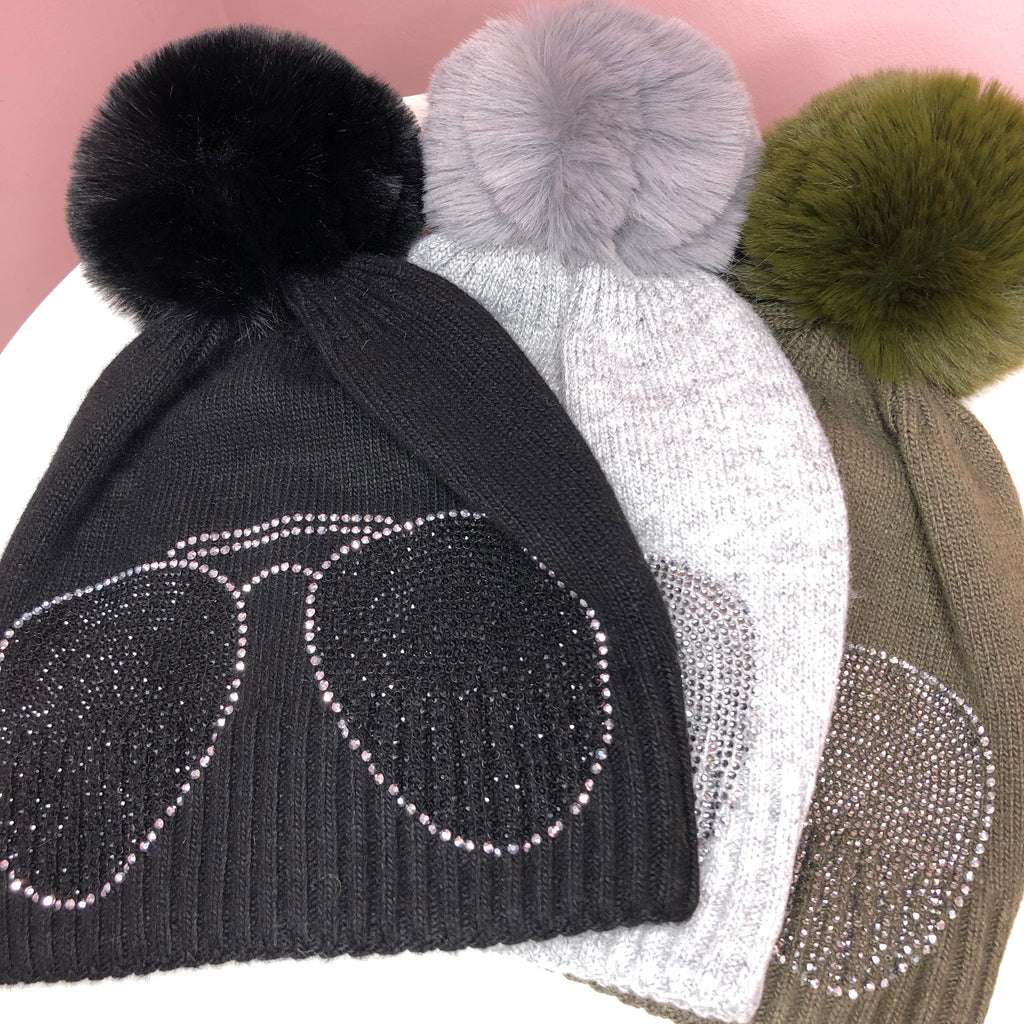 DIAMANTE BOBBLE HAT