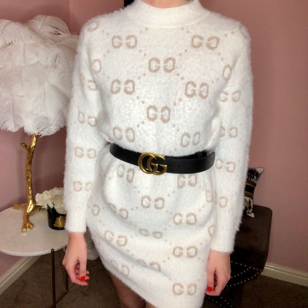 GIA WHITE GUCCI INSPIRED JUMPER DRESS - Celeb Threads