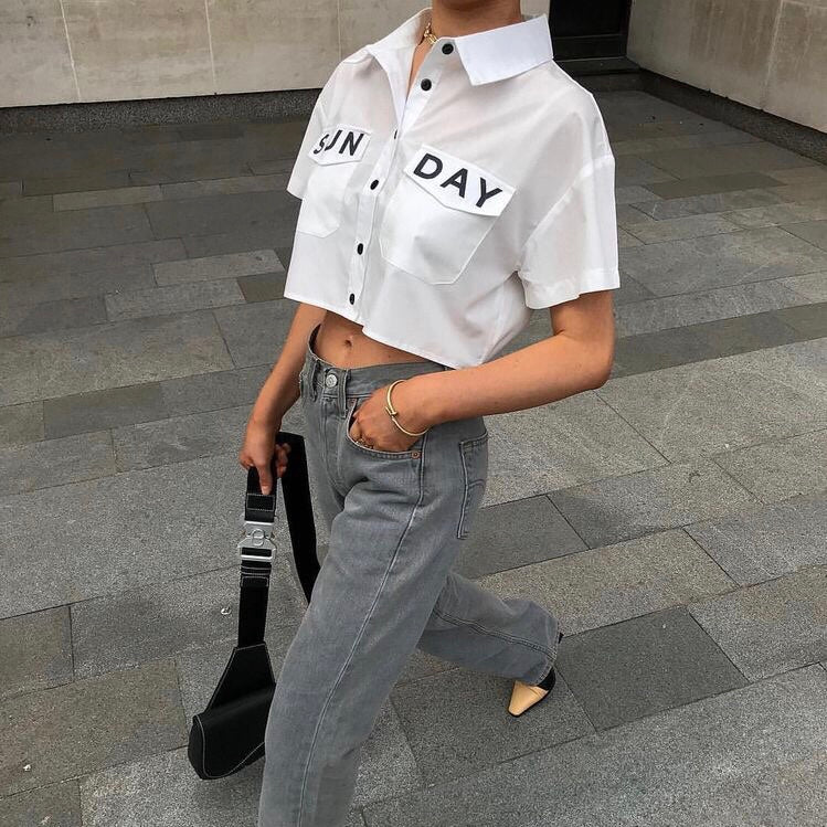 HARLOW WHITE SUNDAY SLOGAN CROPPED SHIRT - Celeb Threads